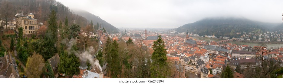 Top view on Heidelberg panorama at foggy day