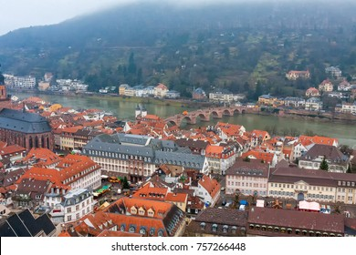 Top view on Heidelberg panorama at foggy day. Germany.