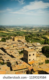 Top view on little medieval town San Gimignano in Toscanaa, Italy