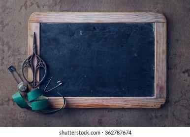 Top view on a mini black board