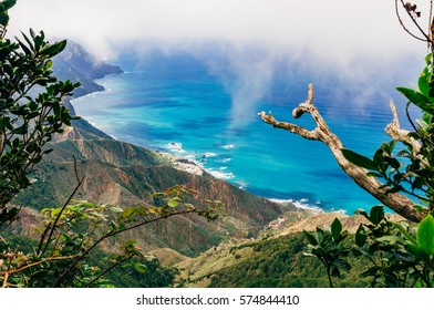 Top view on nothern costline of Tenerife island through laurisilva forest, Canarias, Spain
