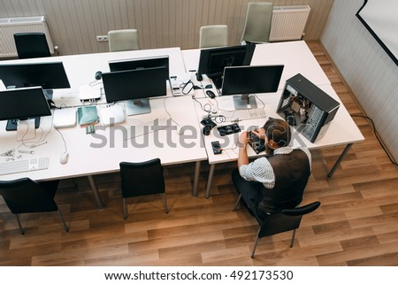 Top view on office open space stock photo edit now