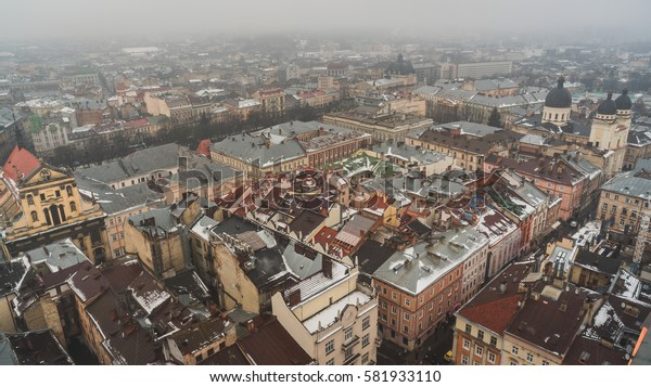 Top view on the old historical center of the city Lviv in Ukraine