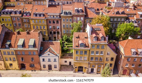 Top view on the old town with beautiful colorful buildings in Warsaw