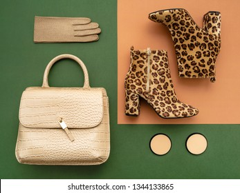 Top view on a pair of trendy leopard print boots, crocodile crossbody bag, leather gloves. Feminine trendy accessories flat lay in green and beige tones.