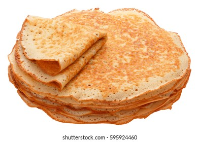 The top view on pancakes with holes. Made of yeast dough.
