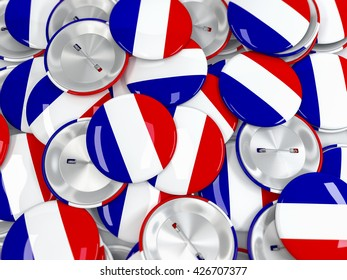 Top view on pile of button badges with flag of France. Realistic 3d render