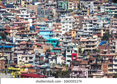 Top view on the roofs of colorful houses. Cityscape of Kathmandu, Nepal