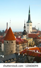 The top view on towers of an old city, Tallinn