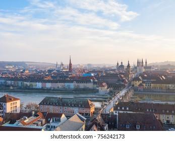 Top view on Wurzburg panorama at at dawn. Germany.