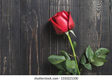 Top view of one red rose flower on dark wooden table background. Can use for romantic or love concept or Valentine day background.