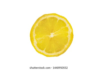 Top view One slice of lemon citrus fruit isolated on white background