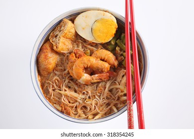 top view oof prawn curry vermicelli on the white background