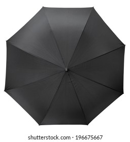 top view of open black umbrella isolated on white background