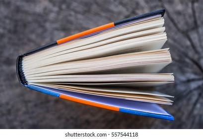 top view of an open book on a wooden board