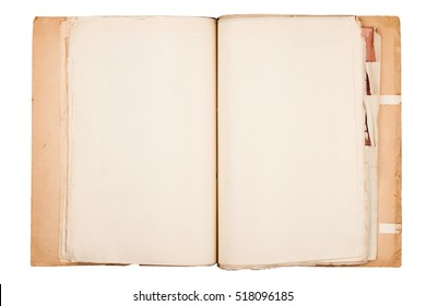 top view of open brown and worn old paper document holder isolated on white