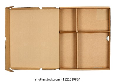 top view of open cardboard box isolated on white