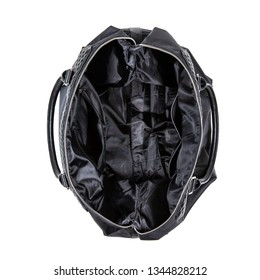 top view of open empty black travelling bag isolated on white background