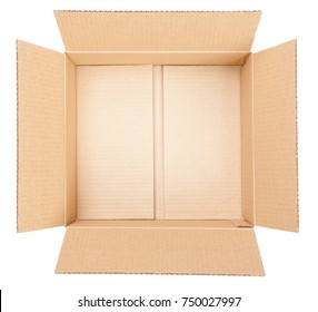 Top view of open empty cardboard box isolated on white