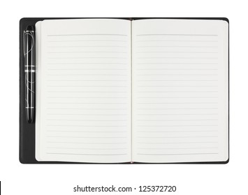 top view open general blank black diary or notebook and white paper with pen on white background, isolate (General design, non copyrighted)