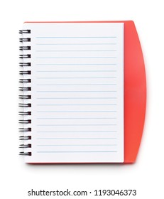 Top view of open notebook isolated on white