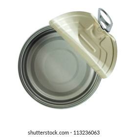 Top view of opened can isolated on white