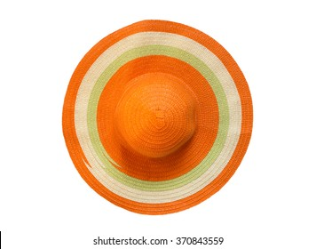 top view orange floppy hat isolated on white background