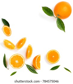 Top view of orange with slices isolated on white background.