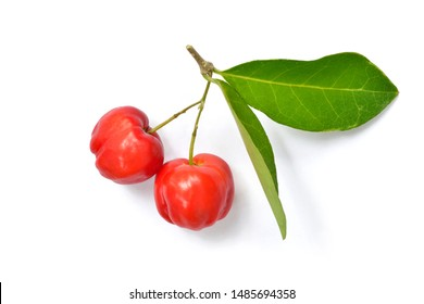 Top view of Organic acerola cherry with green leaves isolated on white background.