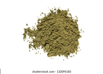 Top view of organic raw hemp protein powder. Isolated on white.