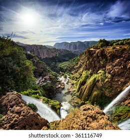 Top view of the Ouzoud waterfalls, Morocco