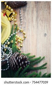 Top view over Christmas ornament decoration frame with copy space