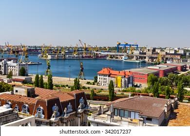 Top view over the Constanta shipyard in Romania, at Black sea