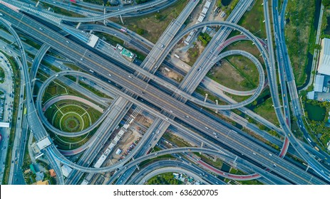 Top view over the highway, expressway and motorway, Expressway is an important infrastructure.