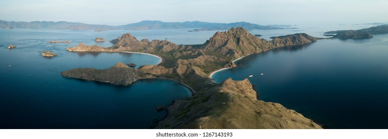 Top view of Padar Island at sunrise
