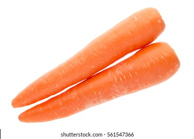 top view of pair long fresh carrot isolated on white background