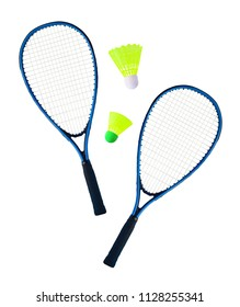 Top view of pair of rackets and shuttlecocks for badminton or speedminton playing. Sport equipment isolated on white background