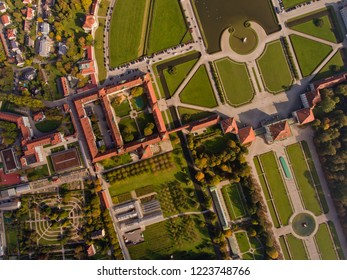 Top view of the palace and park ensemble Nymphenburg in Munich.