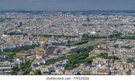 Top view of Paris skyline from above timelapse. Main landmarks of european megapolis with Les Invalides and Bridge of Alexandre III. Bird-eye view from observation deck of Montparnasse tower. Paris