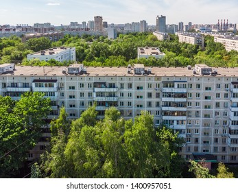 Top view of the park Severnoye Tushino in Moscow, Russia.