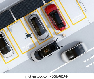 Top view of parking lot equipped with solar panels and batteries and supercharger system. Drone takes off from delivery van to delivering parcel. 3D rendering image.