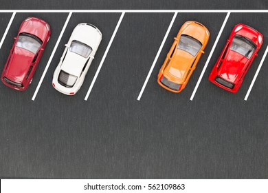 Top view of parking lane
