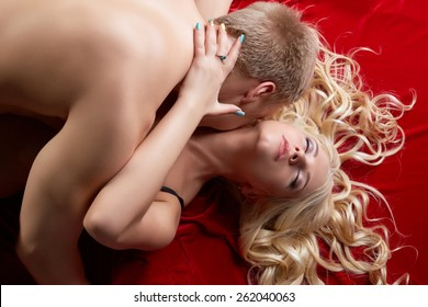 Top view of passionate couple making love