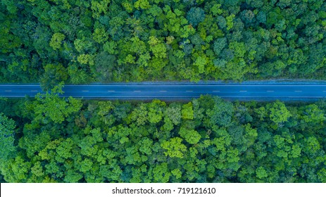 Top View of pathway in forest, Top View of rural road, Thailand.