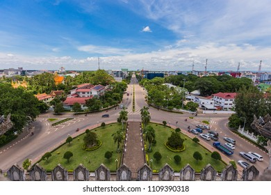 Top view from Patuxai  Arch in Laos, Vientiane. panorama  of Vientiane,LAOS. Good weather of top view in Laos, Vientiane.