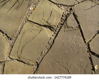 Top view of paved flagstone for background. Closeup.