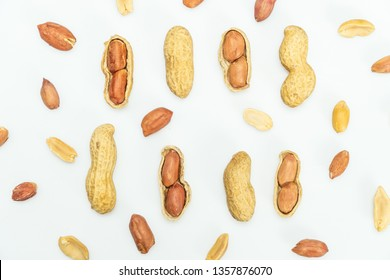 Top view of Peanuts hulls nut shell and peeled peanuts isolated on white background