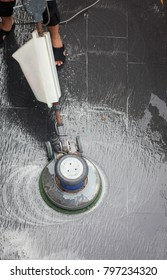 Top view, The people cleaning floor with machine.