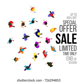 Top view people on sale event. Banner for retail promotions, illustration