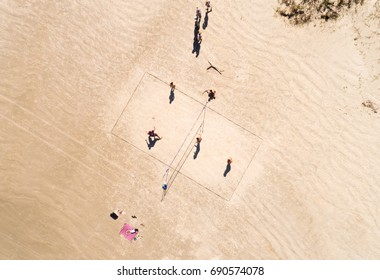Top View People Playing Volleyball in a beach in Brazil